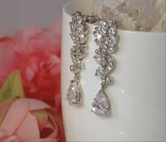 clear earrings dangle bridal earrings sparkly silver clear cz earrings