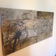 distressed wood artwork dandelion wall artpallet art21x21 2 pieceblowing
