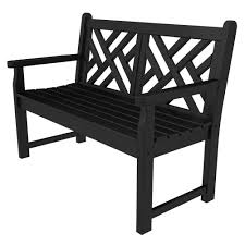 polywood chippendale 48 in black patio bench cdb48bl the home depot