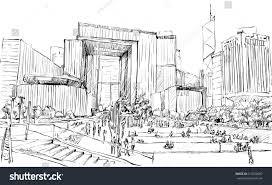 sketch cityscape hong kong show public stock vector 617038097