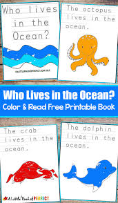 who lives in the ocean color and read printable book