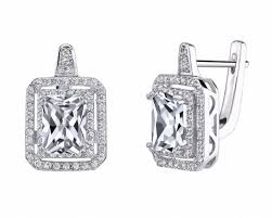 white earrings chicmarket 18k white gold square 1ctw simulated diamond earrings