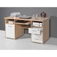 bureau ordinateur blanc bureau informatique avec caisson tiroirs niches en bois l145xh75cm