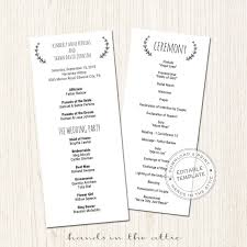 wedding programs printable basic wedding program printable template printable stationery