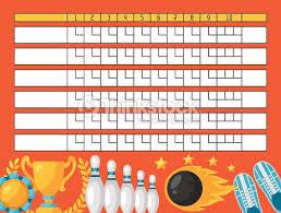 Ten Pin Bowling Sheet Template Bowling Sheet Blank Template Scoreboard With Objects