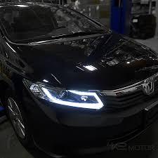 2012 black honda civic for 2012 2015 honda civic led light bar projector headlights