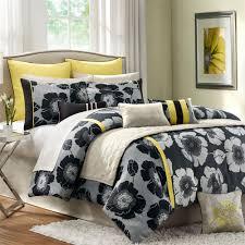 elegant bedroom ideas with yellow black bedding flowers print originalviews
