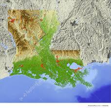 Louisiana Rivers Map 3d Relief Map Of Louisiana Illustration
