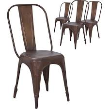 Lot De 4 Chaise Industrielle Métal Cuivré Indus Lot De 4 Chaises Industrielles Vintage En Métal Coloris Marron
