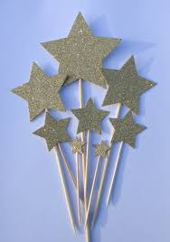 Christmas Cake Decorations Stars by Gold Star Cake Toppers Gold Glitter Star Cake Toppers