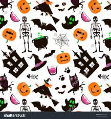 halloween seamless background halloween seamless pattern set halloween icons stock vector