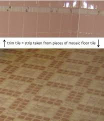 how to use pieces of mosaic floor tile for trim tile bathroom