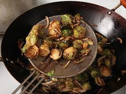 fried brussels sprouts with shallots honey and balsamic vinegar