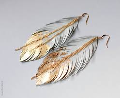 gold feather earrings strange bird feather earrings gold bronze and brown sparkly