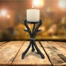 chestnut brown polystone ornamental candle holders set of 3