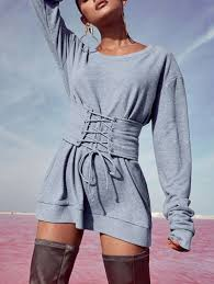 mini dresses gray xl sweatshirt mini dress with corset belt gamiss