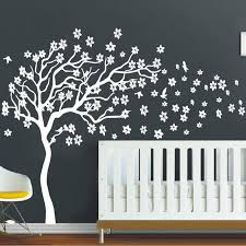 White Tree Wall Decal Nursery White Tree Flowers 3d Vinyl Wall Decal Nursery Tree And Birds