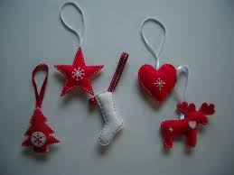 scandinavian style felt tree decorations with pictures