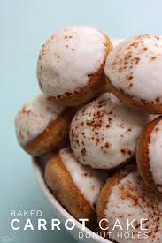 baked carrot cake donut holes filled with cream cheese buttercream