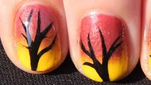 quick and easy autumn ombre tree nail art tutorial fall nails