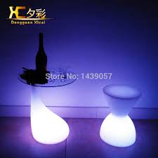 Change Table Color Led Bar Table Plastic Luminous Furniture Club Cylinder