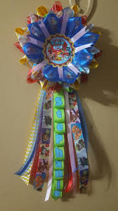 paw patrol themed corsage for birthday and baby showers mommy