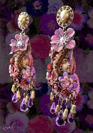 Costume Chandelier Earrings Pink And Purple Large Floral Costume Chandelier Earrings Ornate
