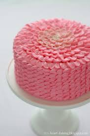 pink ruffle flower chocolate mousse layer cake for a baby shower