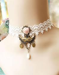vintage lace necklace images White vintage lace choker with pendant details _wonder beauty jpg