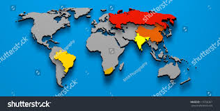 South Africa Political Map by 3d Illustration Political Map Brics Brazil Stock Illustration