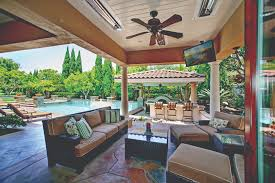 ceiling fans with heaters built in indoor outdoor living space including loggia with built in tv