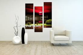 Modern Wall Art 3 Piece Black Canvas City Grass Pictures