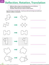 reflection rotation translation worksheet education com
