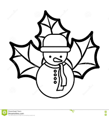 snowman silhouette with hat and christmas leaves stock vector