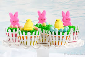 Decorating Easter Cupcakes With Peeps by Devils Food Easter Peep Cupcakes