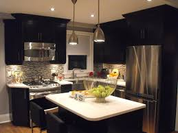 kitchen inspiring black kitchen cabinet with frosted glass doors