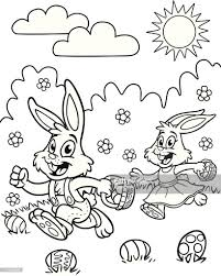easter bunny coloring page vector art getty images