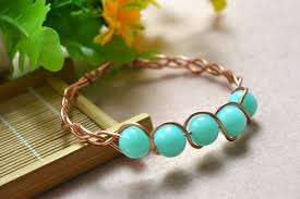 bangle bracelet diy images How to make a braided wire bangle bracelet with cyan acrylic beads jpg