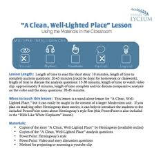 hemingway a clean well lighted place a clean well lighted place lesson by literary lyceum tpt