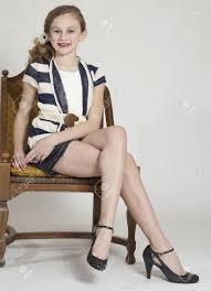 preteen girl modeling young teen girl modeling fashion clothing in studio stock photo