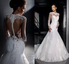 2015 elegant mermaid dresses sheer covered button back long sleeve