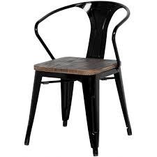Black Metal Chairs Dining Metropolis Metal Arm Chair Wood Seat