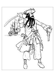 dessin à colorier de l u0027image du chef des pirates et de son navire