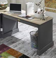 Schreibtisch Mit Schubladen Eck Schreibtisch 212x78x192cm 6 Schubladen Kiefer Basaltgrau