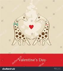 s day giraffe giraffe valentins day brown stock vector 124290247