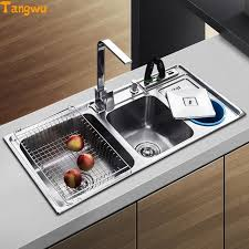 Kitchen Stainless Sinks Tangwu Dual Trough Sink Kitchen Stainless Steel Wash Basin