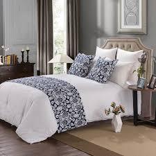 chambre et literie yazi européenne coton bleu floral lit coureur throw accueil hôtel
