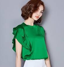 plus size silk blouse 2017 sleeve ruffles sleeve white satin blouses plus