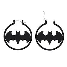 batman earrings women s dc comics batman logo stainless steel matte hoop earrings