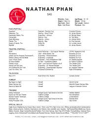 Resume Acting Template Resume Template Actor Exle Sle Acting Within 85 Glamorous